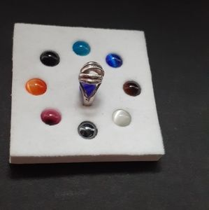 Sterling silver ring with 9 interchangeable beads